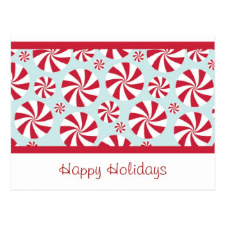 Peppermint Candy Red and Blue Holiday Postcard