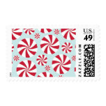 Peppermint Candy Red and Blue Holiday Stamp