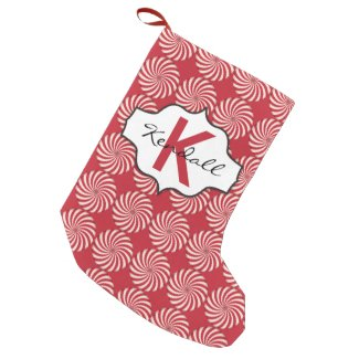 Peppermint Candy Red and White Swirls Monogram Small Christmas Stocking