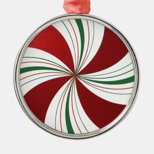 Peppermint Candy Round Christmas Tree Ornament