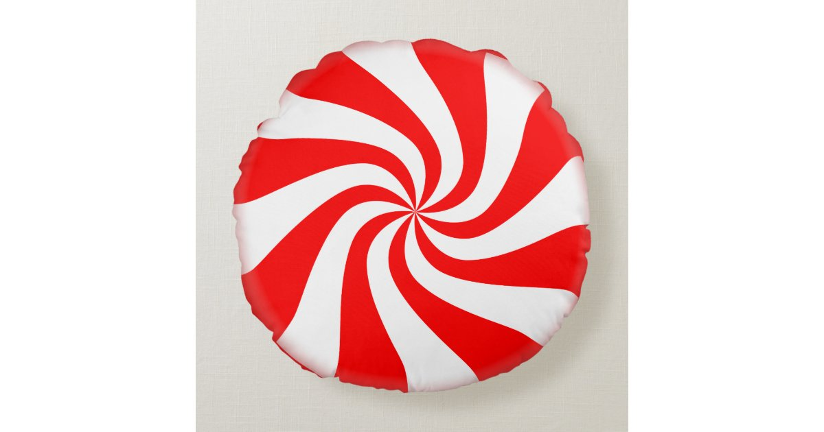 peppermint candy round holiday pillow zazzle com