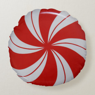 Peppermint Candy Round Pillow