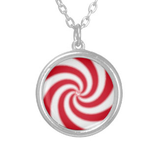 Peppermint Candy Silver Plated Necklace