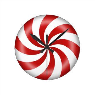 Peppermint Candy Swirl Round Clock