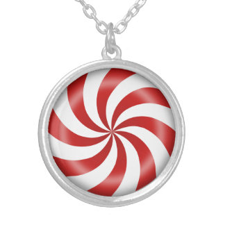 Peppermint Candy Swirl Silver Plated Necklace