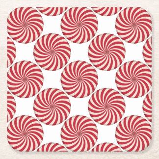 Peppermint Candy Swirl Square Paper Coaster