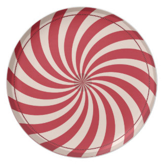 Peppermint candy swirly christmas plate