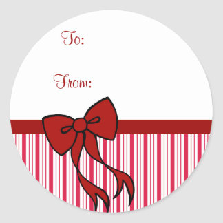 Peppermint Christmas Bow Gift Tag Stickers
