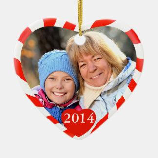 Peppermint Christmas Heart Photo Double-Sided Heart Ceramic Christmas Ornament