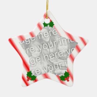 Peppermint Christmas Star Custom Ornament