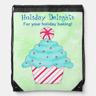 Peppermint Cupcake Baking Business Promotion Drawstring Bag