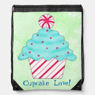 Peppermint Cupcake Love Art Green Shopping Drawstring Bag