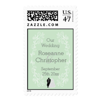 Peppermint Damask Our Wedding Stamp