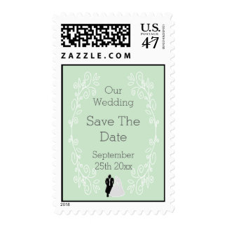 Peppermint Damask Save The Date Wedding Stamp