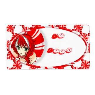 Peppermint Girl Gift Tag Custom Shipping Label