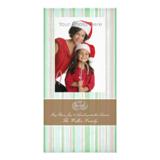 Peppermint green photo christmas card personalized photo card