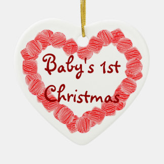 Peppermint Heart, Baby's 1st Christmas Ceramic Ornament