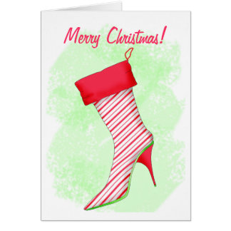 Peppermint High Heel Boot Stocking Merry Christmas Greeting Card