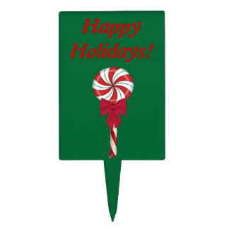 Peppermint Lollipop Happy Holidays Cake Topper