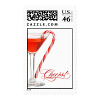 Peppermint Martini Christmas Cocktail Party Stamps