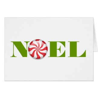 Peppermint Noel Holiday Greeting Card