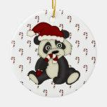 Peppermint Panda holiday ornament