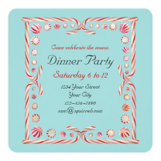 Peppermint Party Blue Invitation