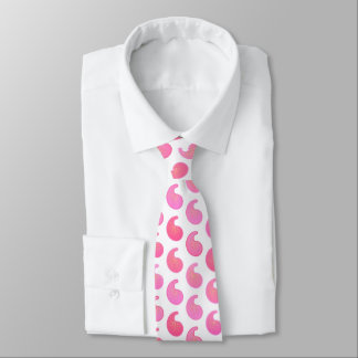 Peppermint pink paisley on white neck tie