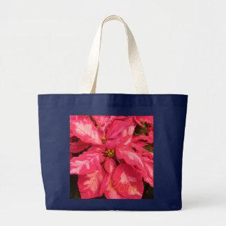 Peppermint Pink Poinsettia Jumbo Tote Bag