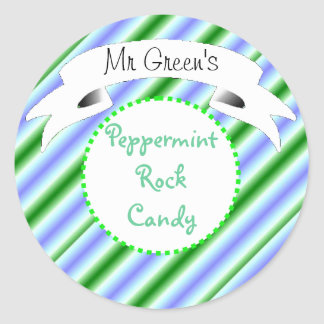 Peppermint rock candy striped label