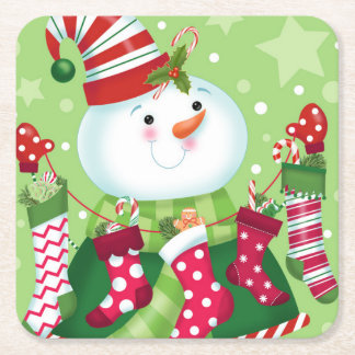 Peppermint Snowman and Stockings Coaster