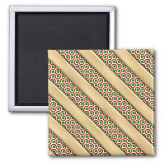 Peppermint Squiggles 2 Inch Square Magnet