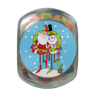Peppermint Stix Santa and Snowman Glass candy jar. Glass Jars