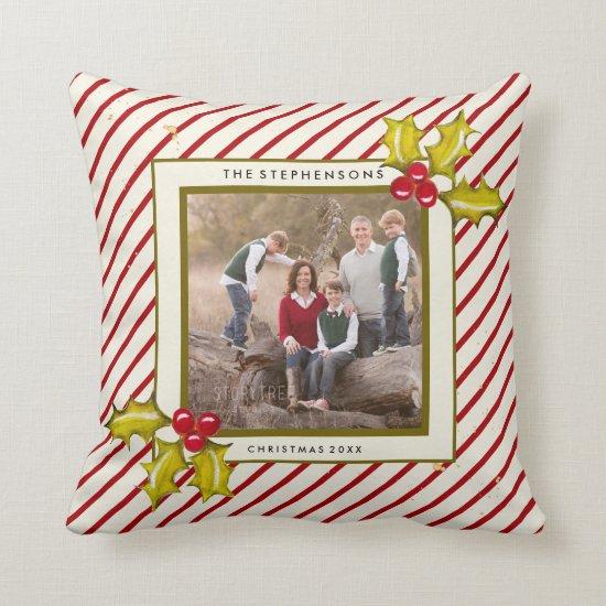 Peppermint Stripe Holly Farmhouse Photo Christmas Throw Pillow