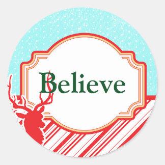 Peppermint Stripe Reindeer Decorative Sticker