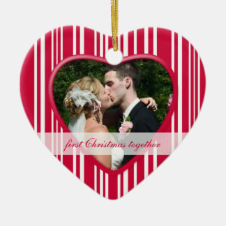 Peppermint Striped 1st Christmas together: Wedding Ornament