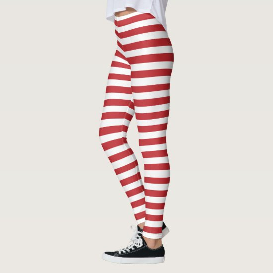 Peppermint Striped Christmas Holiday Leggings