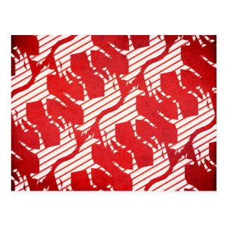 Peppermint Striped Unicorn Postcard