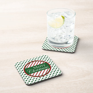 Peppermint Stripes and Polka Dots Beverage Coaster