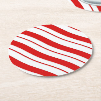 Peppermint Stripes Round Paper Coaster