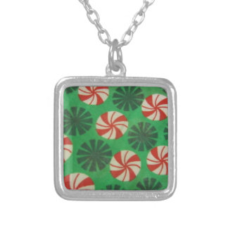 Peppermint Swirl Candy Silver Plated Necklace