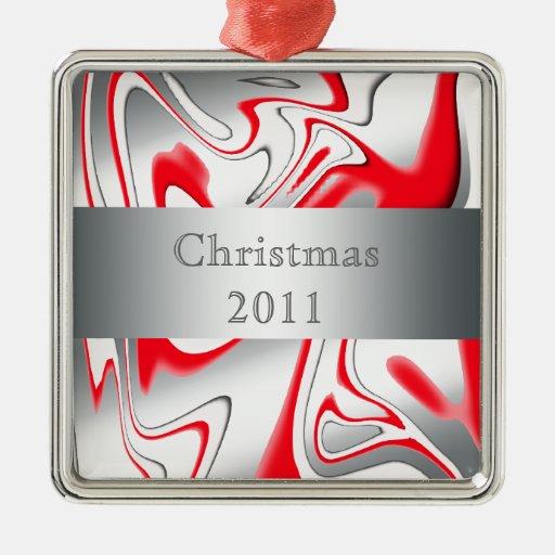 Peppermint Swirl - Silver Metal Ornament