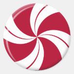 Peppermint Swirl Stripe Candy Classic Round Sticker