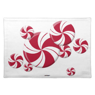 Peppermint Swirl Stripe Candy Cloth Placemat