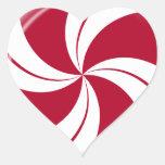 Peppermint Swirl Stripe Candy Heart Sticker