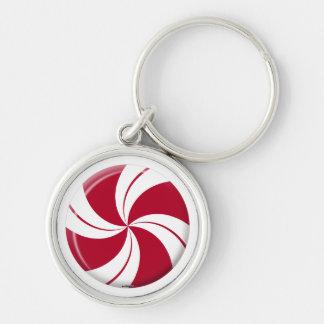 Peppermint Swirl Stripe Candy Keychain