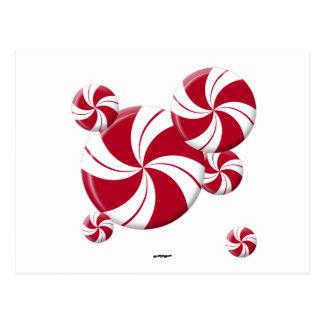 Peppermint Swirl Stripe Candy Postcard