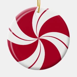 Peppermint Swirl Stripe & Spearmint Candy Ceramic Ornament