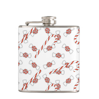 Peppermints And Candy Canes White Red Christmas Flasks