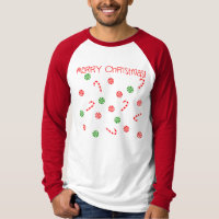 Peppermints & Candy Cane Long Sleeve Raglan Tee